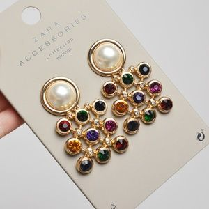 ZARA Gold Pearl Gemstone Dangle Clip-on Earrings